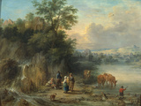 A Landscape with Peasants and Cattle by a River Giclée-tryk af Theobald Michau