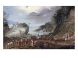 Landscape with Travellers Halted near a Bridge Giclee Print by Gommaer van der Gracht