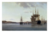 The Napoleon and other Men of War in Cherbourg Harbour, 1863 Giclee Print by Anton Melbye