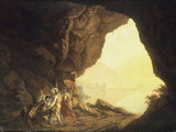 A Grotto in the Kingdom of Naples, with Banditti, at Sunset, c.1777-78 Posters by Joseph Wright of Derby