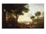 View of River Boyne with Gentlemen and Horses by a Statue to William III, the Boyne Obelisk beyond Print by Thomas Mitchell