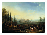 Extensive Landscape with Falconers and Figures Dancing Giclee Print by Jan Peeter van Bredael
