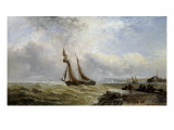 Coaster leaving Port, Rough Weather, Mackerel Boats, Seaford Roads, 1882 Giclee Print by Arthur J. Meadows