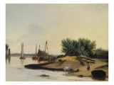 Loading Timber on the River Yare Giclee Print by Alfred Stannard