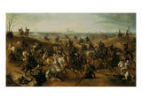 The Battle of Lekkerbeetje or the Battle of Vught Heath with a View of 'S-Hertogenbosch' Giclée-Druck von Sebastiaen Vrancx
