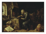 An Alchemist in his Workshop, early 1650s Poster by David Teniers the Younger