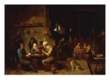 A Farmhouse Interior with Peasants at a Table Playing Cards Gicl&#233;e-Druck von David Teniers the Younger