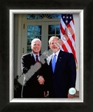 Senator John McCain & President George W. Bush at the White House March 5, 2008, Washington, DC Framed Photographic Print