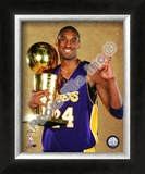 Kobe Bryant Game Five of the 2009 NBA Finals With Championship Trophy Framed Photographic Print
