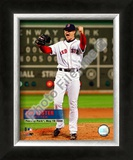 Jon Lester&#39;s 2008 No hitter Celebration; Vertical with Overlay Framed Photographic Print