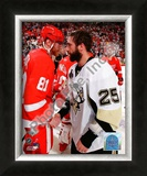 Maxime Talbot &amp; Marian Hossa Game 7 of the 2008-09 NHL Stanley Cup Finals Framed Photographic Print