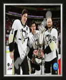 Sidney Crosby, Evgeni Malkin, & Sergei Gonchar - 2008-09 Prince of Wales Trophy Framed Photographic Print