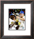 Santonio Holmes & Ben Roethlisberger SuperBowl XLIII With Lombardi Trophy Framed Photographic Print
