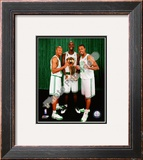 Kevin Garnett, Ray Allen, & Paul Pierce with the 2007-08 NBA Champion trophy Framed Photographic Print
