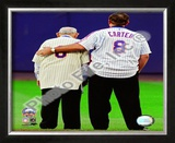 Yogi Berra & Gary Carter Final Game at Shea Stadium 2008 Framed Photographic Print