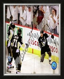 Sidney Crosby, Evgeni Malkin, & Marian Hossa Celebrate Crosby's 2nd Goal Game 3 Stanley Cup Finals Framed Photographic Print