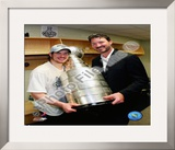 Sidney Crosby &amp; Mario Lemieux Game 7 - 2008-09 NHL Stanley Cup Finals With Trophy Framed Photographic Print