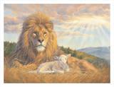 Lion and Lamb Posters van Lucie Bilodeau