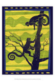 Woodblock Monkeys Print by Benjamin Bay