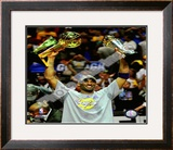 Kobe Bryant Game 5 - 2009 NBA Finals With MVP & Championship Trophies Framed Photographic Print