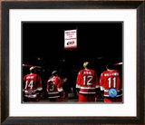 2006 - 2007 Hurricanes Stanley Cup Banner Raising Framed Photographic Print