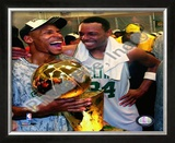 Ray Allen & Paul Pierce, Game Six of the 2008 NBA Finals With Trophy Framed Photographic Print