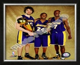 Pau Gasol, Kobe Bryant, & Lamar Odom Game 5 - 2009 NBA Finals With Championship Trophy (31) Framed Photographic Print