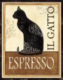 Reclameposter espresso, zwarte kat met tekst: Il Gatto Posters van Veronique Charron