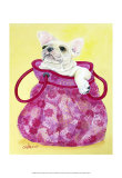 Frenchie in Pink Purse Prints by Carol Dillon