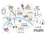 Map of Paris Lminas por Alice Tait