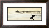 Surfer at Huntington Beach Print by Thea Schrack