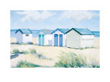 Beach Huts on a Bright Day Prints by Jane Hewlett