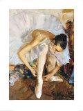 Ballerina Fixing Her Shoe Prints by Vasily Bratanyuk