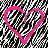 Hjerte med zebrastribet baggrund Poster af Louise Carey