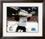 Marc-Andre Fleury Game 7 - 2008-09 NHL Stanley Cup Finals With Trophy Framed Photographic Print