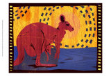 Woodblock Kangaroo Poster by Benjamin Bay