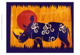 Woodblock Rhino Affiches par Benjamin Bay