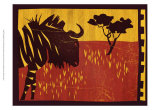 Woodblock Gnu Prints by Benjamin Bay