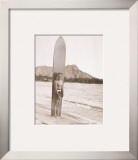 Duke with Surfboard Framed Giclee Print