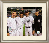 Jorge Posada, Mariano Rivera, Derek Jeter,& Andy Pettitte Final Game At Yankee Stadium 2008 Framed Photographic Print