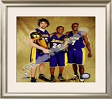 Pau Gasol, Kobe Bryant, & Lamar Odom Game 5 - 2009 NBA Finals With Championship Trophy (31) Framed Photographic Print