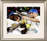 Santonio Holmes & Ben Roethlisberger SuperBowl XLIII With Lombardi Trophy Framed Photographic Print