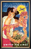 Hawaii via United Airlines Poster by  Feher