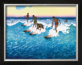 Surf Riders Honolulu Framed Giclee Print by Charles W. Bartlett