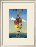 Chile by SAS, Scandinavian Airline System, c.1951 Print by De Ambrogio