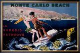 Monte Carlo Beach Framed Giclee Print