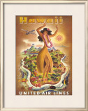 United Airlines, Hula Dancer Framed Giclee Print