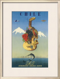 Chile by SAS, Scandinavian Airline System, c.1951 Framed Giclee Print by  De Ambrogio