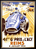 41st Grand Prix of the Automobile Club de France, Reims Framed Giclee Print by Geo Ham