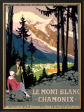 Mont Blanc, Chamonix Framed Giclee Print by Roger Broders